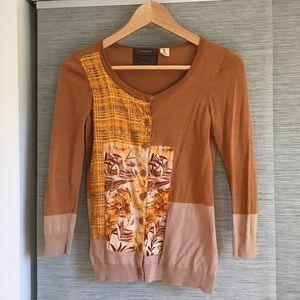 Guinevere Anthropologie cotton silk cardigan xs